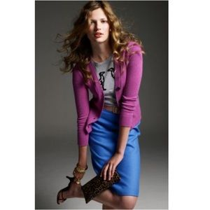 J. Crew Blue Wool Pencil Skirt Size 00